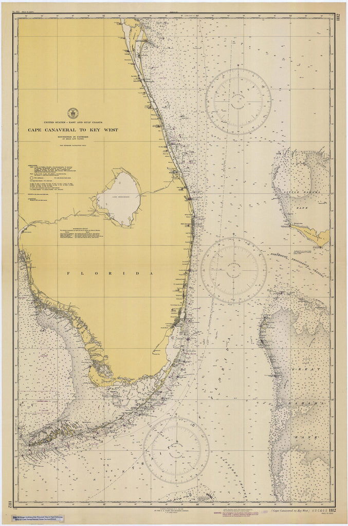 Cape Canaveral to Key West Historical Map - 1945