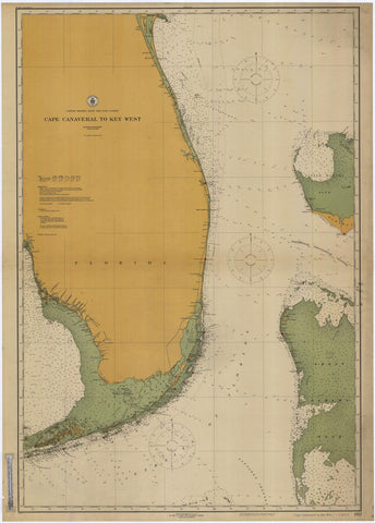 Canaveral to Key West Historical Map - 1916