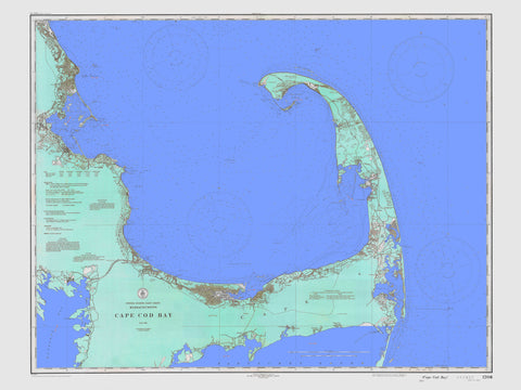 Cape Cod Bay Map - 1933 (Aqua & Blue)
