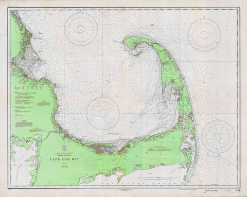 Cape Cod Bay Map - 1933 (lime green)