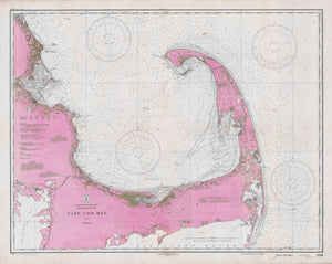Cape Cod Bay Map - 1933 (Pink)