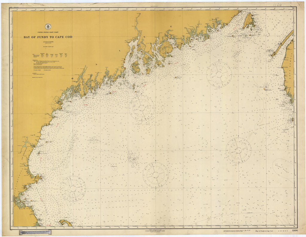 Cape Cod to Bay of Fundy Historical Map - 1917
