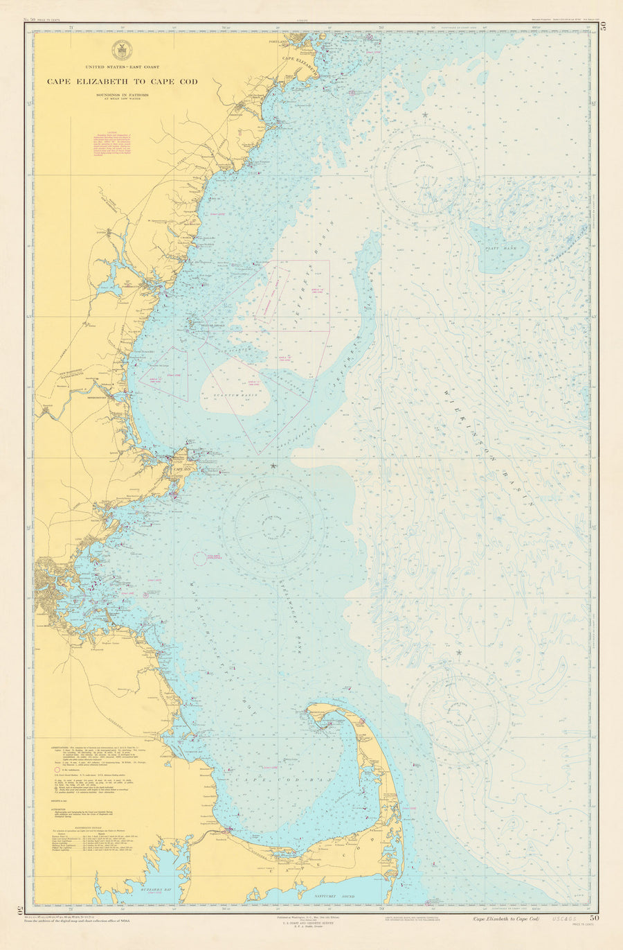 Cape Cod to Cape Elizabeth Map - 1951 (light blue)