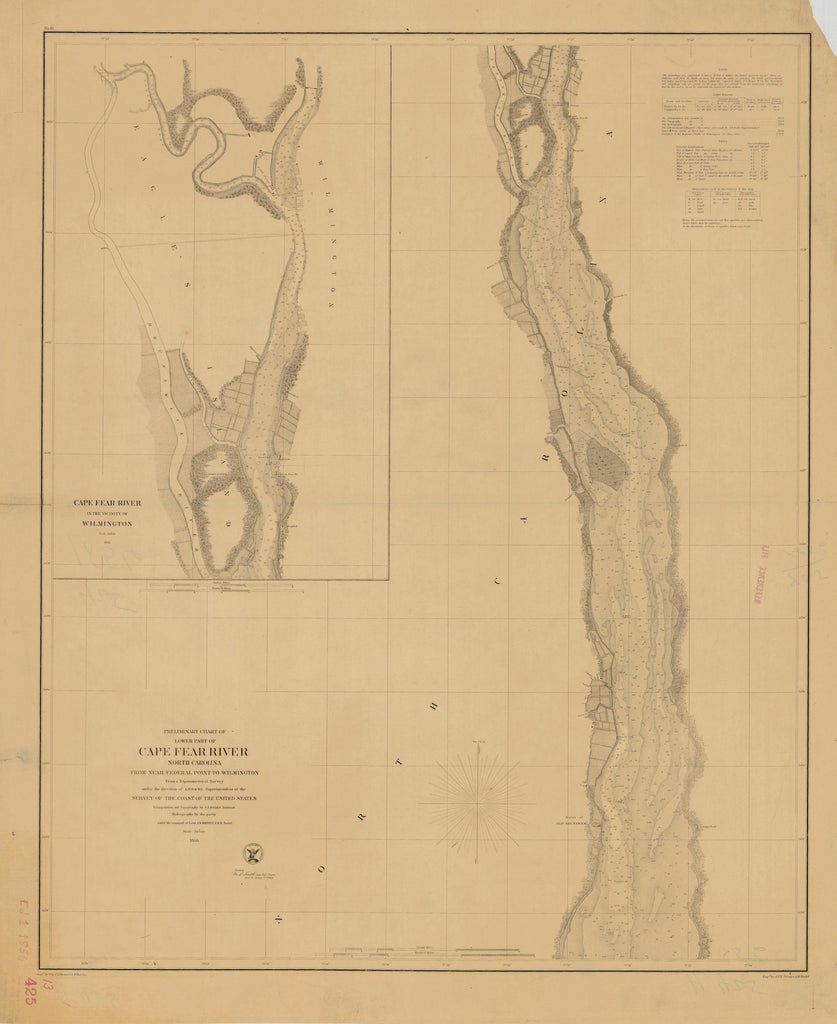 Cape Fear River Map 1856