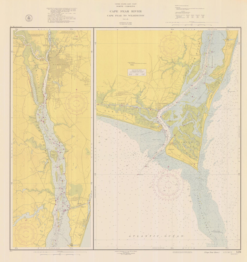 Cape Fear Map - Cape Fear River 1950