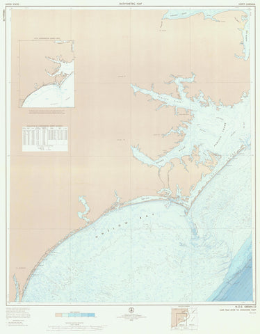 Cape Fear River Map to Ocracoke Inlet 1972