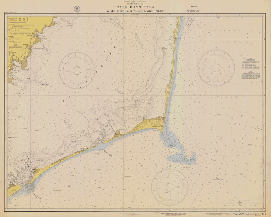 Cape Hatteras - Wimble Shoals to Ocracoke Inlet Map 1942