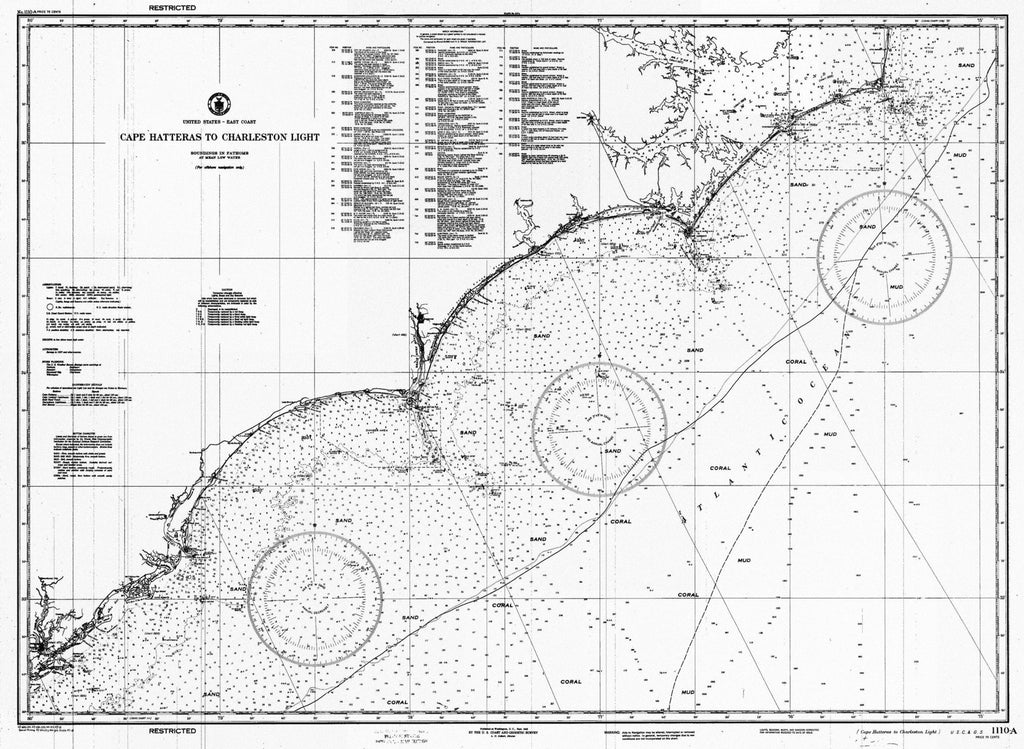 Cape Hatteras Map to Charleston Light 1945