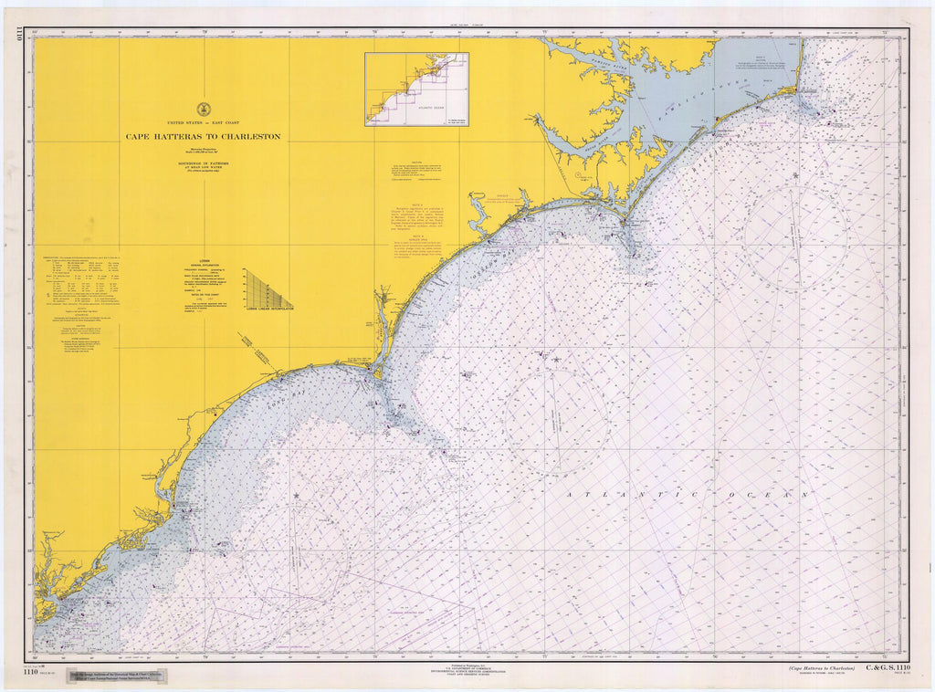 Cape Hatteras Map to Charleston Light 1966