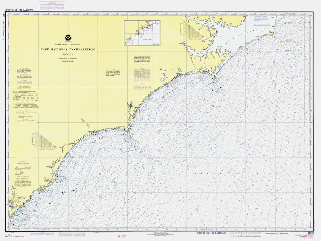 Cape Hatteras Map to Charleston Light 1983