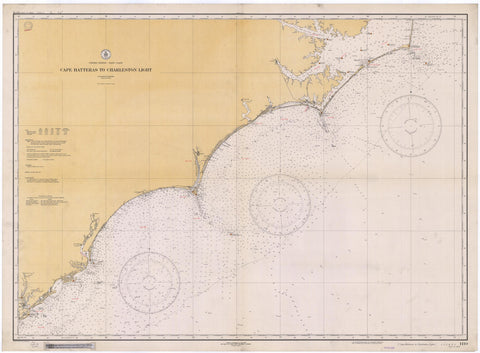 Cape Hatteras Map to Charleston Light Map - 1934