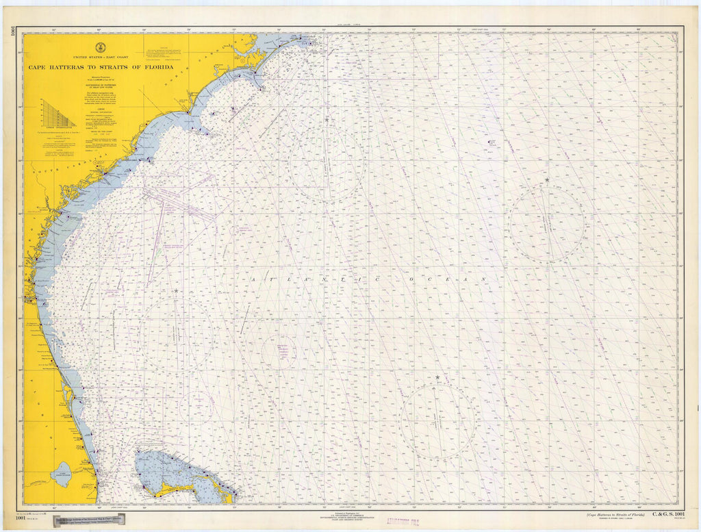 Cape Hatteras to Straits of Florida Map 1966