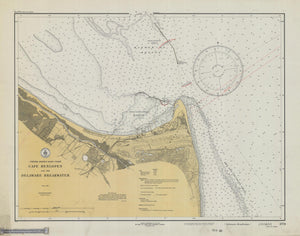Cape Henlopen and the Delaware Breakwater Map - 1933