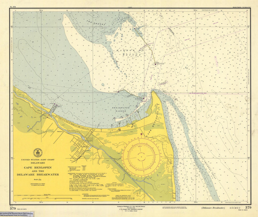 Cape Henlopen and the Delaware Breakwater Map - 1952