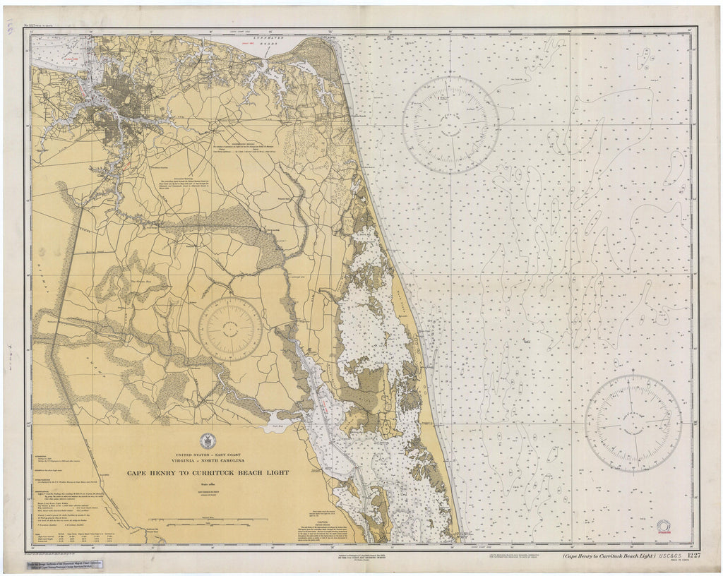 Cape Henry to Currituck Beach Historical Map - 1934