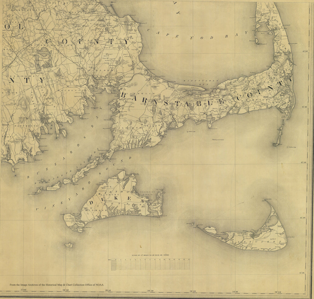 Cape Cod & Islands Historical Map - 1844