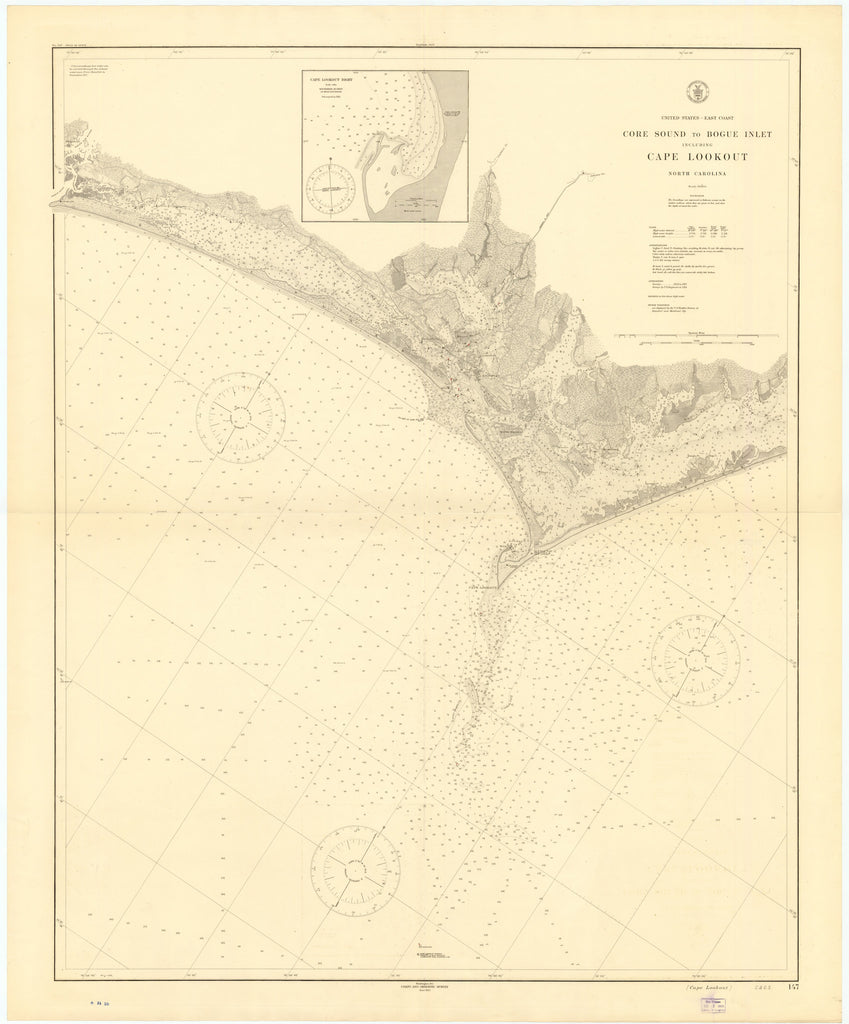 Cape Lookout - Core Sound to Bogue Inlet Map 1915