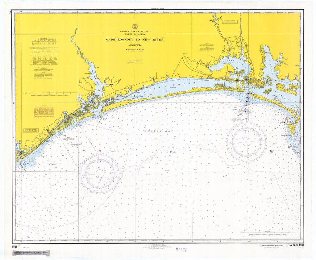 Cape Lookout to New River Map - Historical Chart 1968