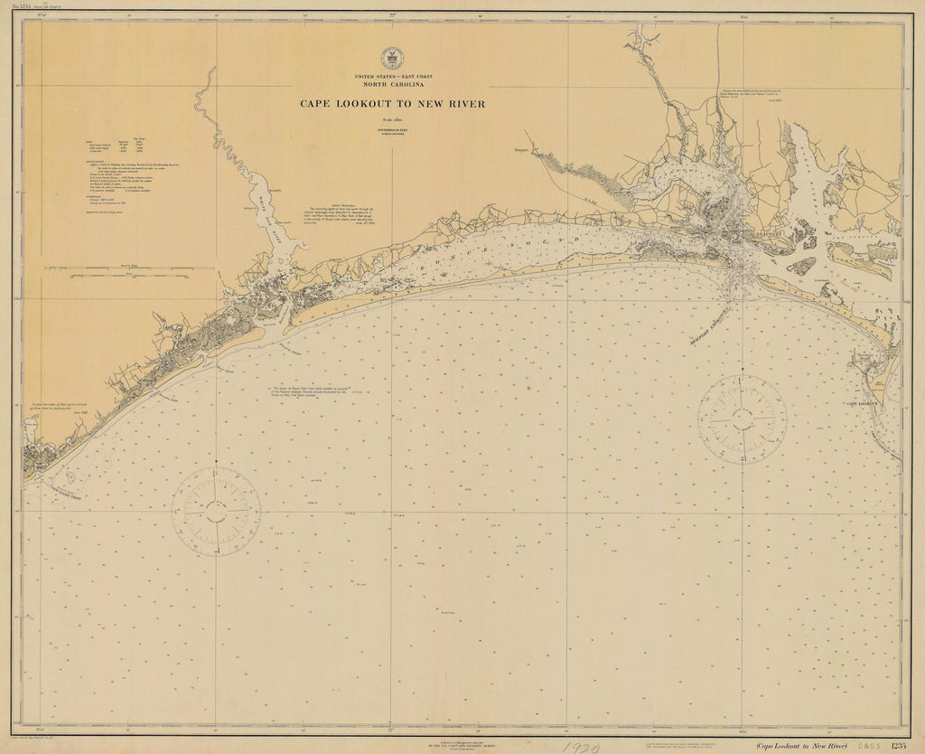 Cape Lookout to New River Map - Historical Chart 1920