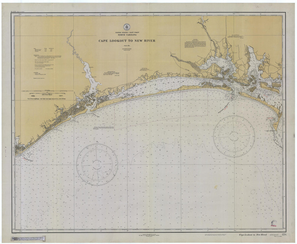 Cape Lookout to New River Map - Historical Chart 1932