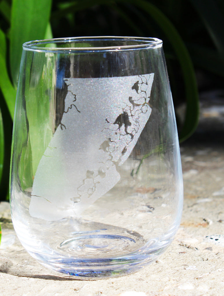 Cape May Map - Engraved Stemless Wine Glass (Rocks also available)