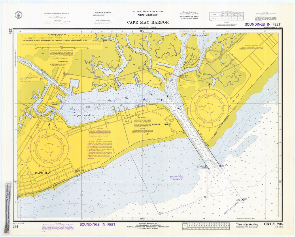 Cape May Harbor Map 1973