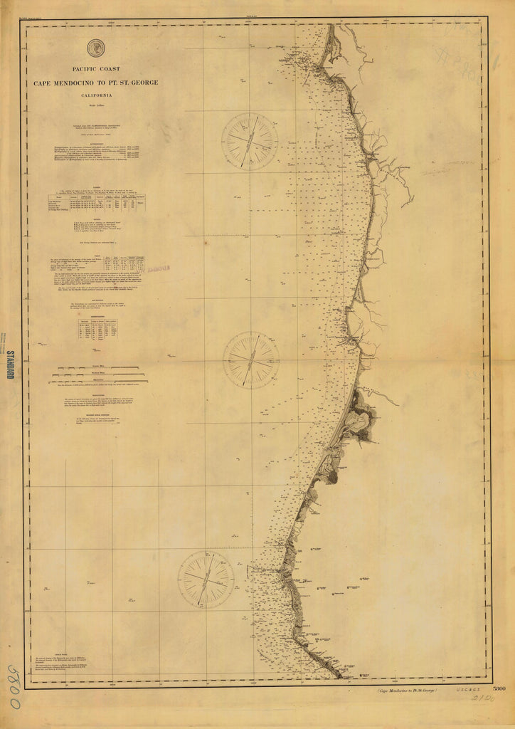 Cape Mendocino to Point St. George California Map  - 1891