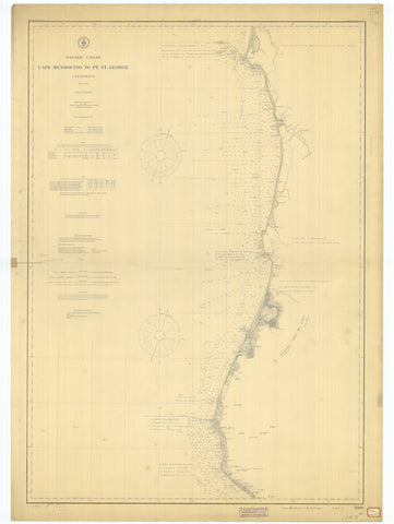 Cape Mendocino to Point St. George California Map - 1904