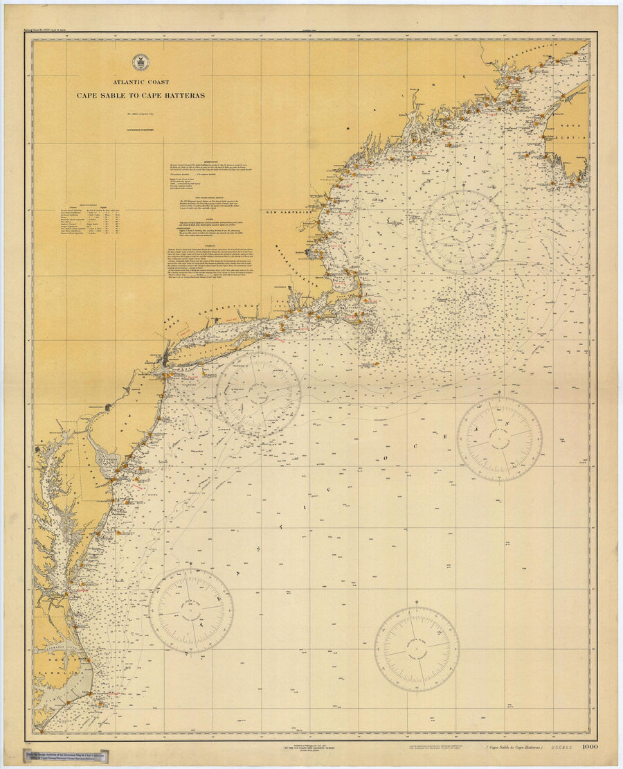 Cape Sable to Cape Hatteras Map 1927