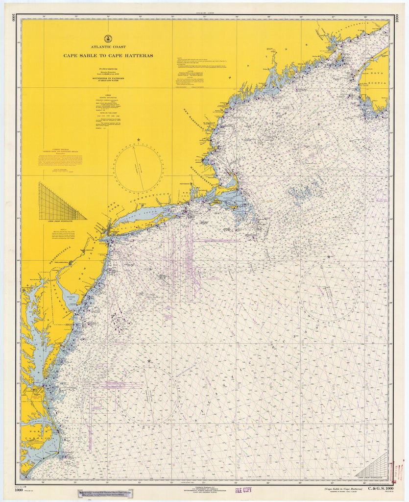 Cape Sable to Cape Hatteras Historical Map 1966