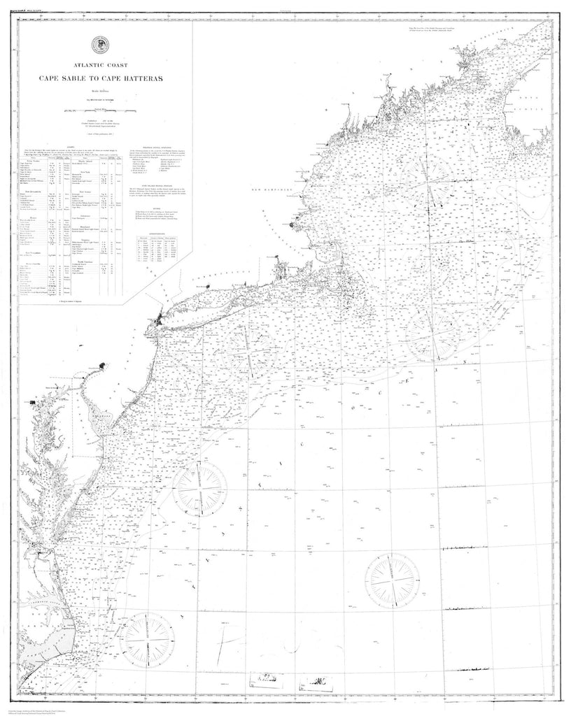 Cape Sable to Cape Hatteras Historical Map 1890