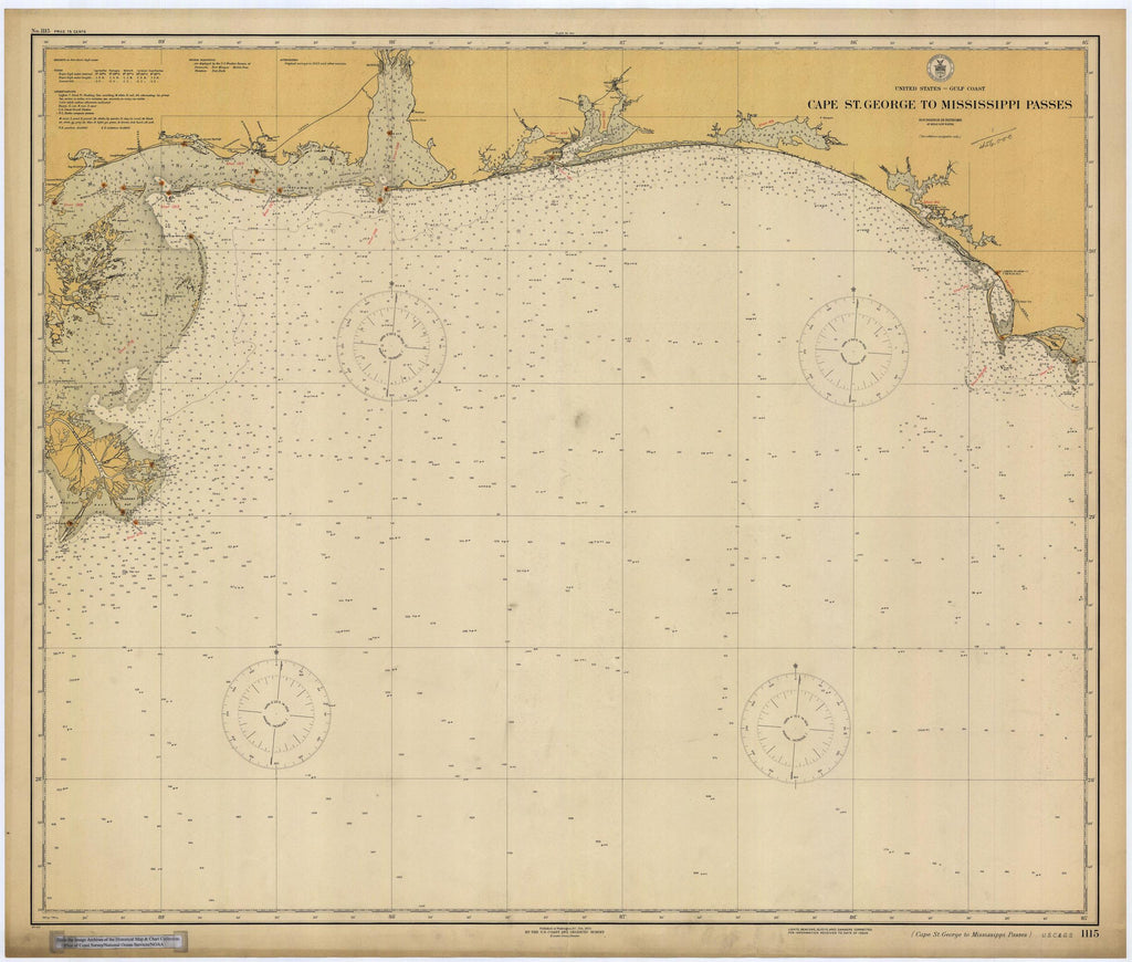 Cape St. George to Mississippi Pass Map 1925