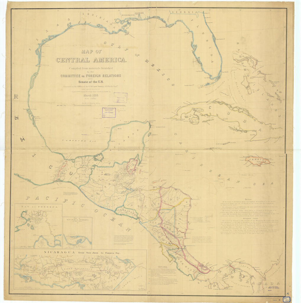 Caribbean Map and Central America 1856