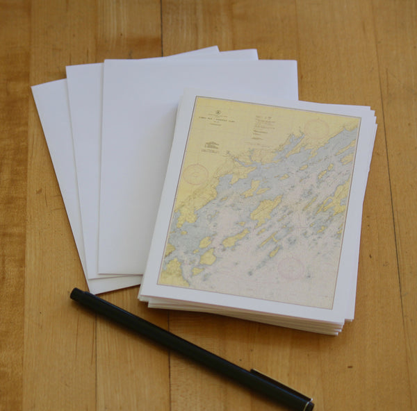 "Casco Bay Map Note Cards (1945) 4.25""x5.5"""