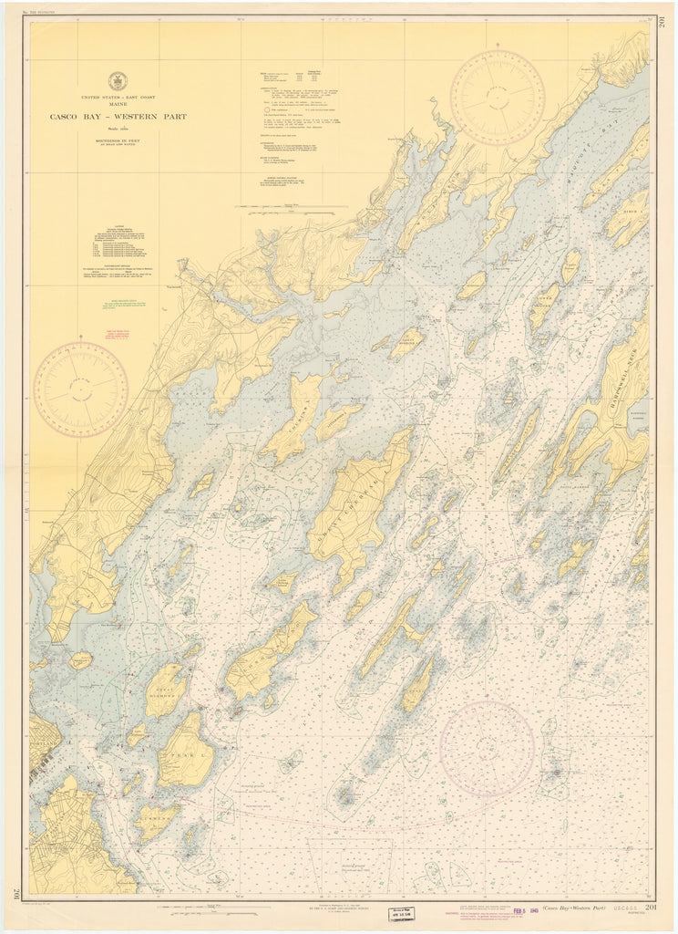 Casco Bay Maine Historical Map - 1945