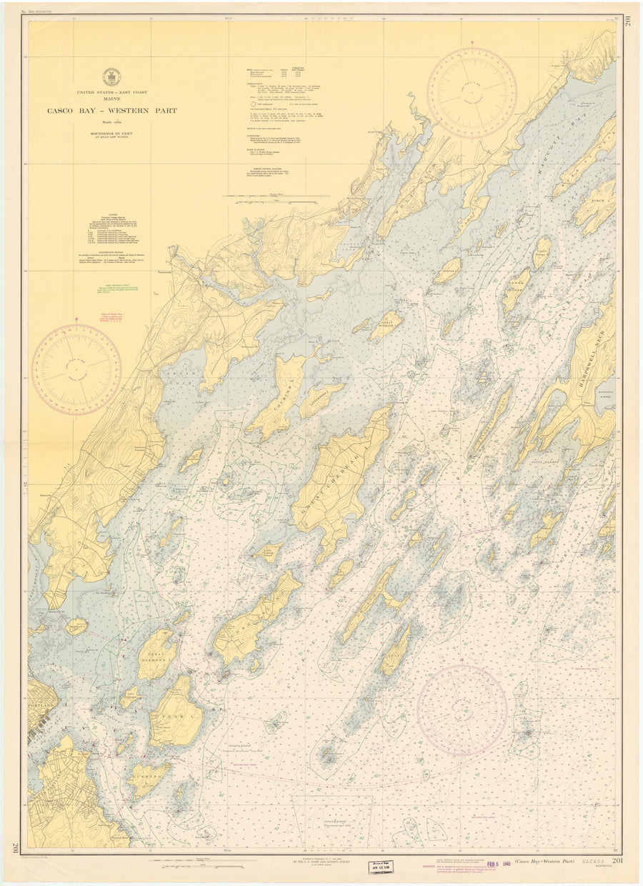 Casco Bay Map - 1945