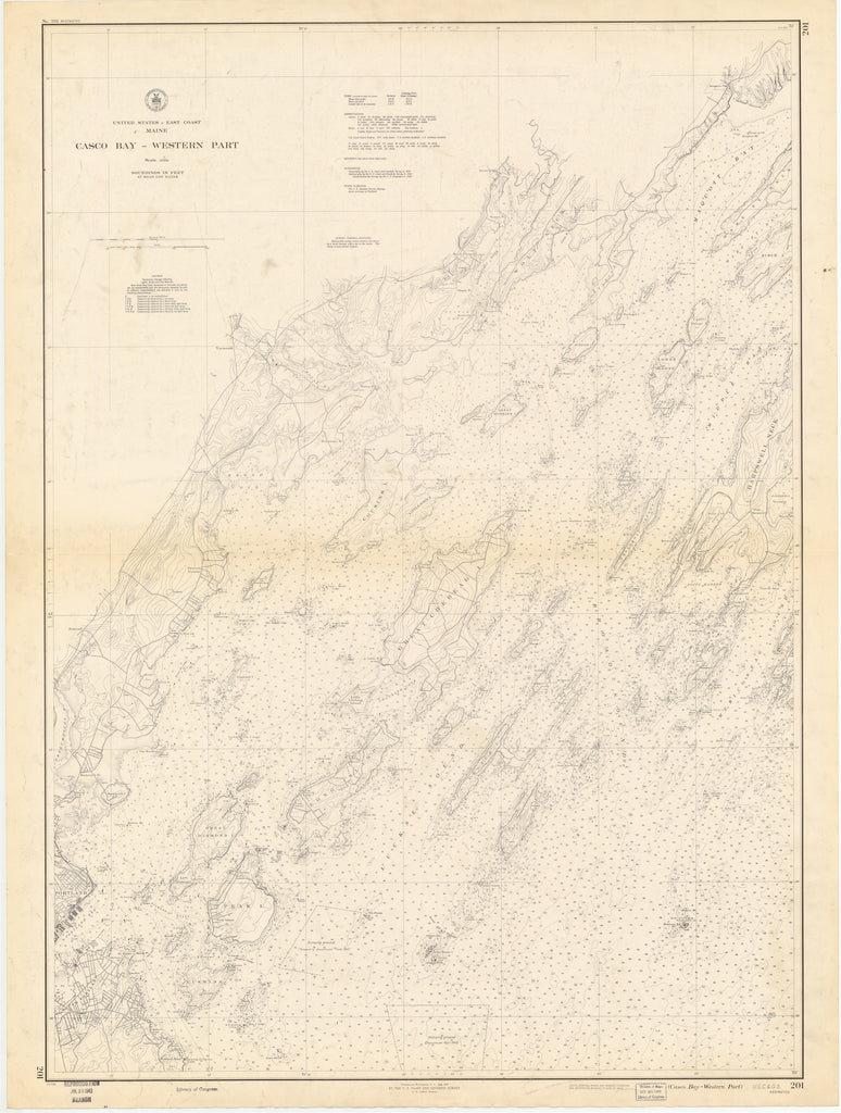 Casco Bay Maine Map - 1943