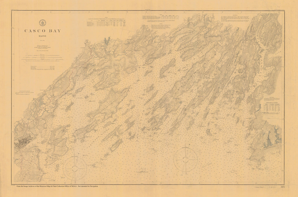Casco Bay Maine Historical Map - 1896