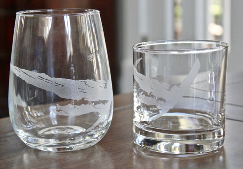 Cat Island Map - Engraved Rocks, Stemless Wine & Pint Glasses