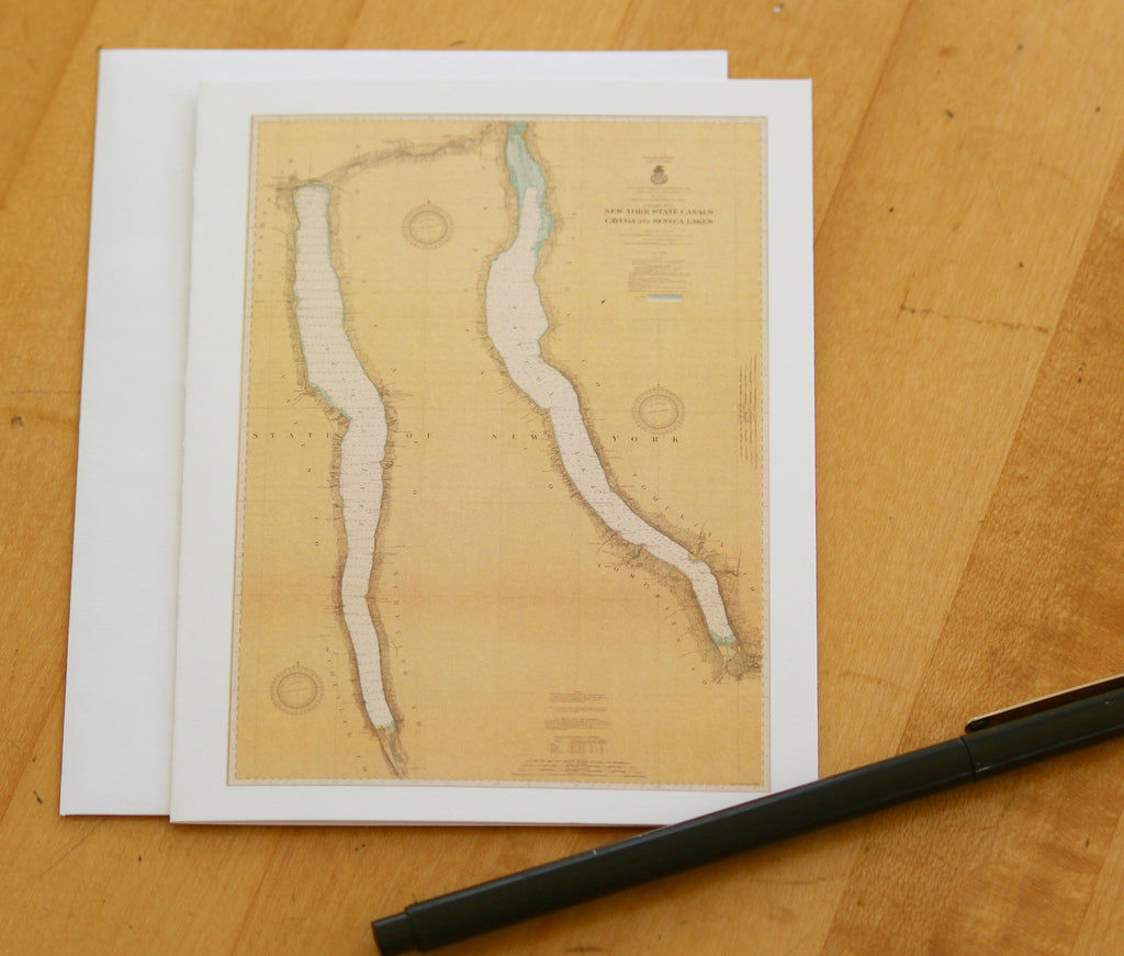 "Cayuga & Seneca Lakes Map Note Cards (1917) 4.25""x5.5"""