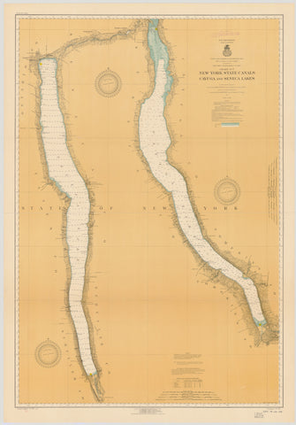 Cayuga Lake and Seneca Lake Historical Map - 1936