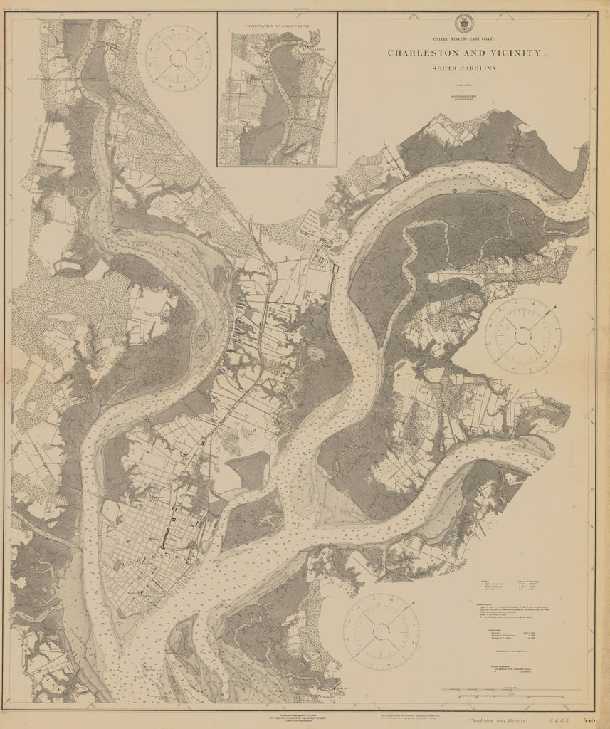 Charleston Harbor Map, South Carolina 1918