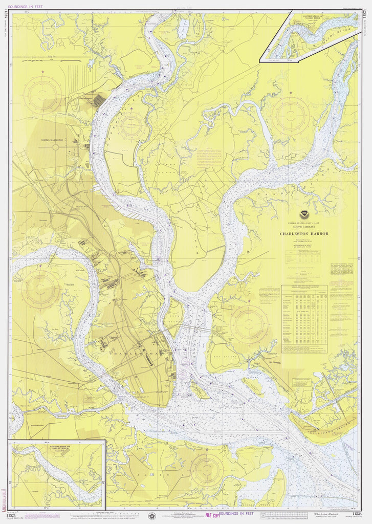 Charleston Harbor Map - 1975