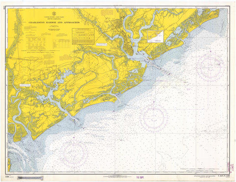 Charleston Harbor and Approaches Map - 1966