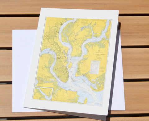 "Charleston Harbor Map Notecards (1959) 4.25""x5.5"""