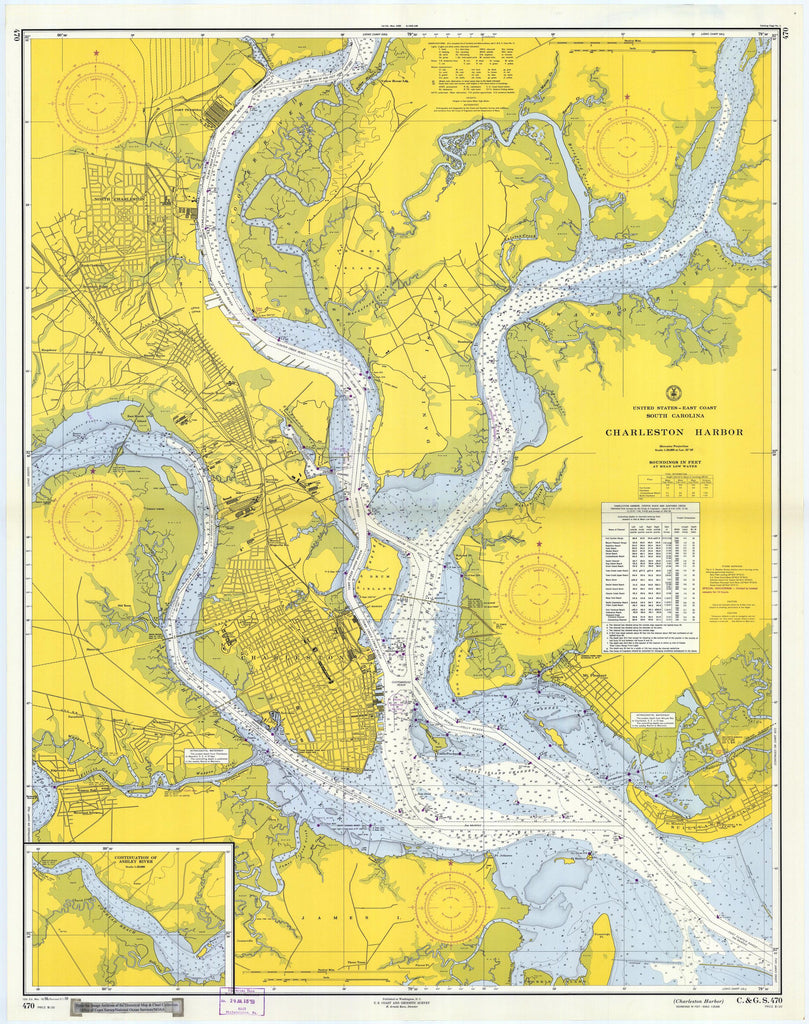 Charleston Harbor, South Carolina Map - 1959