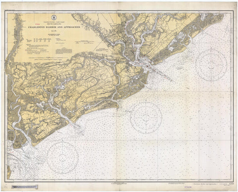 Charleston Harbor and Approaches Map - 1934