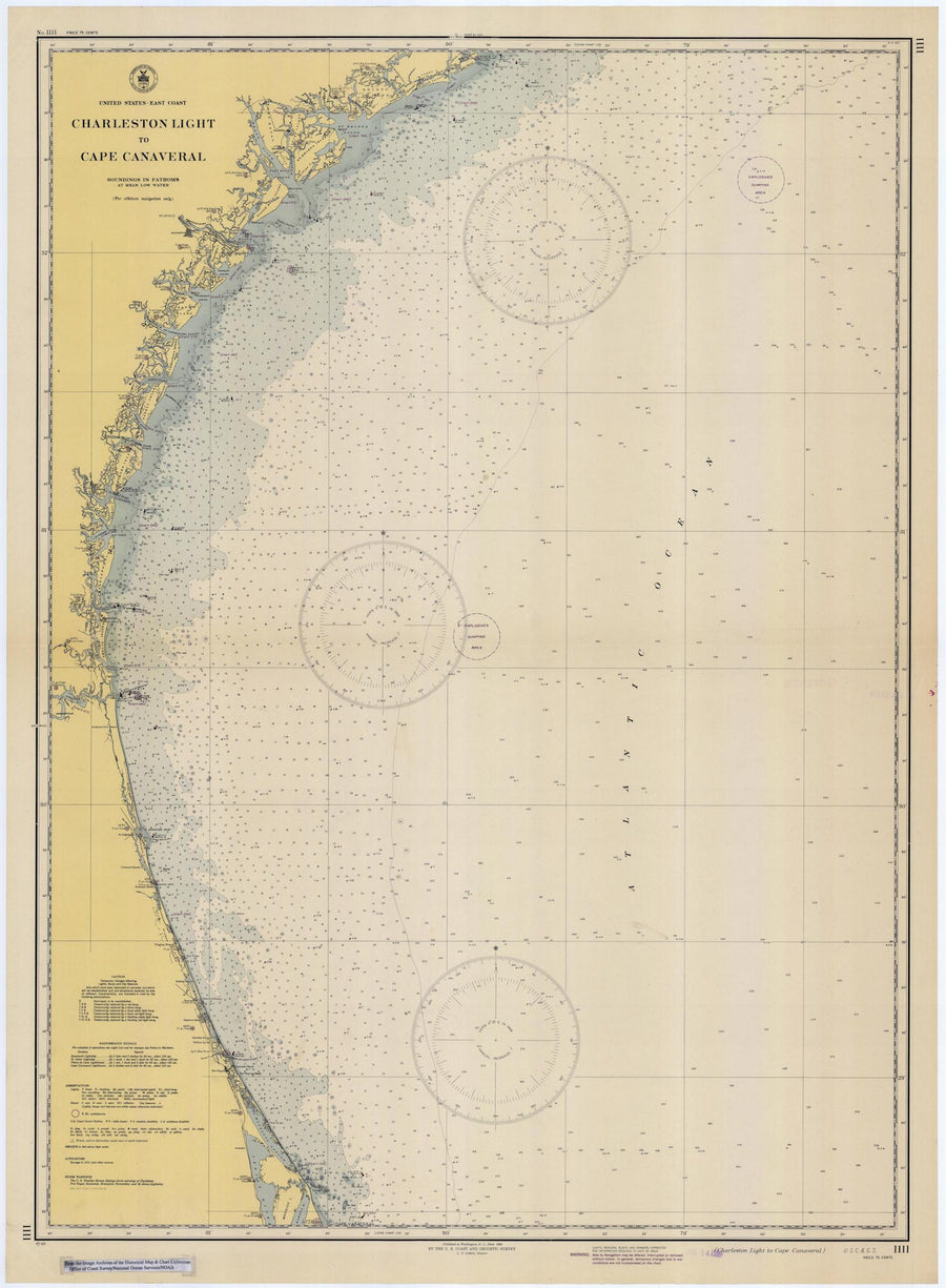 Charleston Light to Cape Canaveral Map - 1945