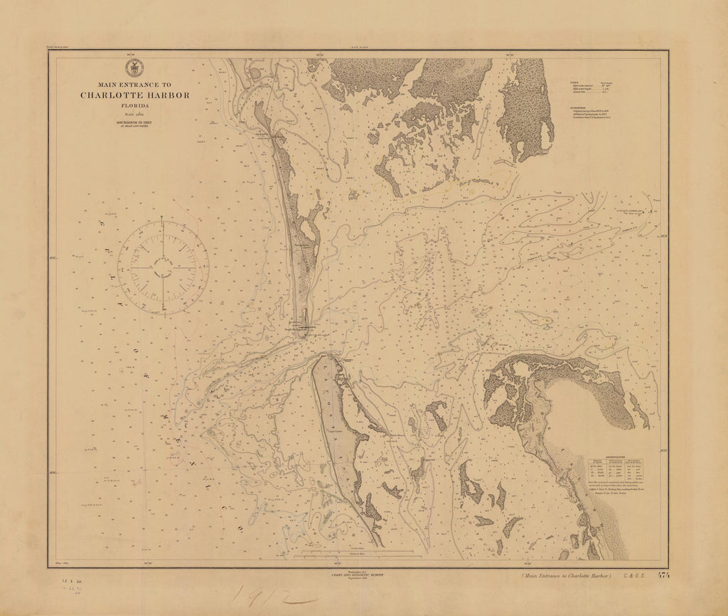 Charlotte Harbor Florida Historical Map - 1912
