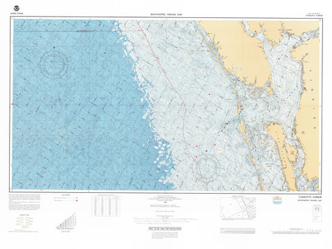 Charlotte Harbor Florida Bathymetric Map - 1989